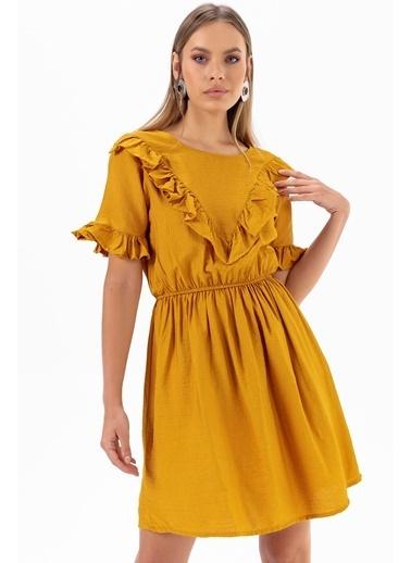 Emjey Önü V Farbalı Elbise Hardal